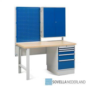Sovella Nederland Treston werkbank workshop met gereedschapsbord en opslagkast - bezoek onze showroom