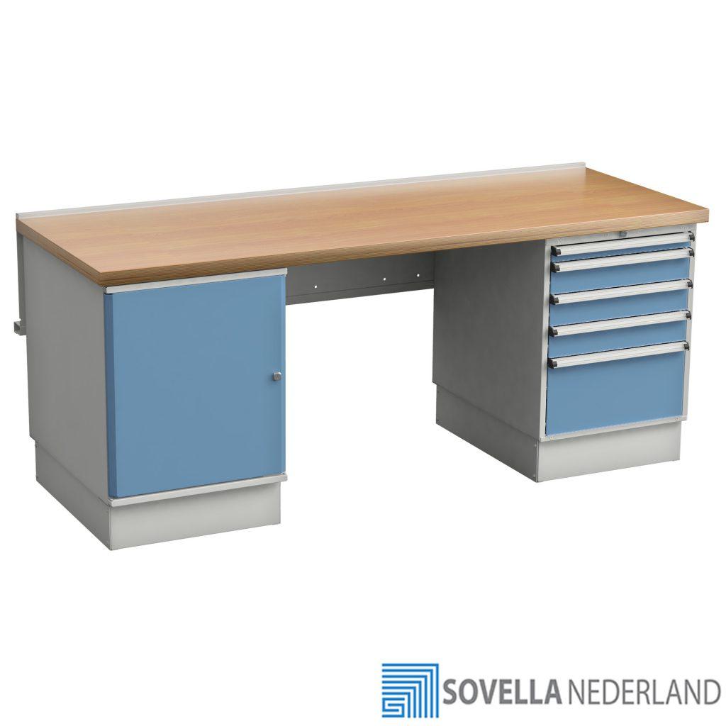 Sovella Nederland Treston workshop werkbank met multiplex tafelblad en ladekasten - bezoek onze showroom