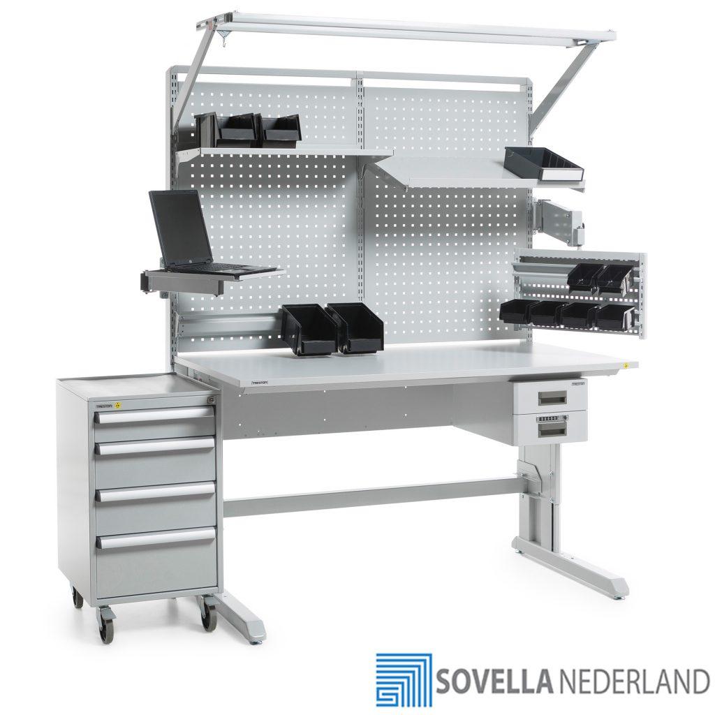 Sovella Nederland Treston Sovella ESD-veilige werktafel voor R&D en reparatie doeleinden met concept trolley als bijzettafel