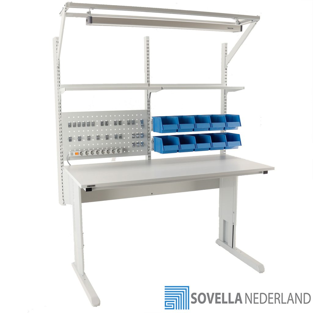 Sovella Nederland Treston concept werktafel ESD voor assemblage en reparatie met verlichting - bezoek onze showroom