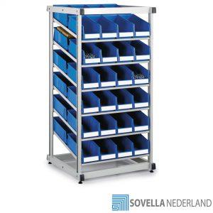 Sovella Nederland Treston 2Bin stelling met profielen en Treston 1930-6 stapelbare containers voor de opslag van goederen in de werkplaats