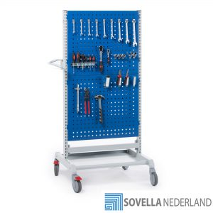 Sovella Nederland Treston gereedschaps trolley met gereedschapsbord dubbelzijdig met hakenset voor het ophangen van gereedschap in de werkplaats