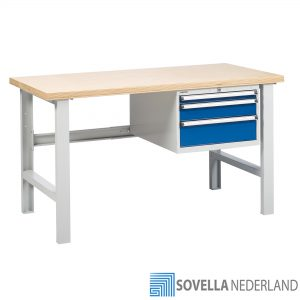 Sovella Nederland Treston zware werkbank met ladekast multiplex tafelblad - bezoek onze showroom